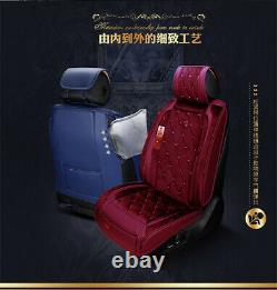 Deluxe Full Set Bling Wine Red Warm Pad Car Seat & Steering Wheel Cover US Ship