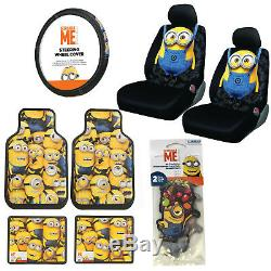 Despicable Me MINIONS Floor Mats Seat Covers Steering Wheel Cover Air Freshener