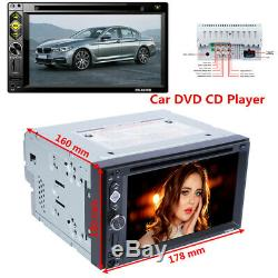 Double 2Din 6.2 Car Stereo DVD CD Player FM Radio AUX WithSteering Wheel Control
