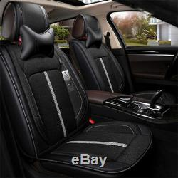 Durable Black 5-seat Car Seat Cover Cushion Pad+Steering Wheel Cover+Pillows Set