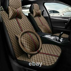 Fashion 11pcs 5-Sit Leather Car Seat Cover Protector Front Rear Universal Set US