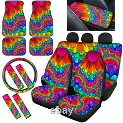 Fashion Tie Dye Car Seat Covers Combo Set Floor Mats Steering Wheel, Armrest Pads