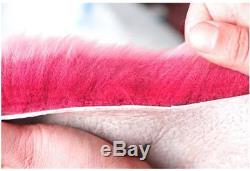Five-piece natural fleece soft fluffy pink premium car seat steering wheel cover