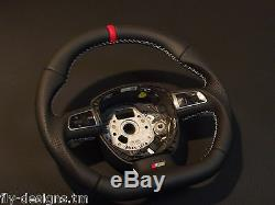 Flat bottom Audi A3 S3 A4 A5 A6 A8 SEAT Leather Steering wheel S-line