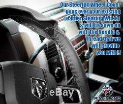 For 2009 2010 2011 2012 Dodge Ram Long Horn -Leather Steering Wheel Cover, Black