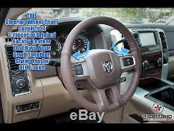 For 2013-2018 Dodge Ram 1500 2500 3500 -Leather Wrap Steering Wheel Cover, Brown
