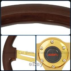 For Chevy 345mm Wood Grain 2 Deep Dish Extended Steering Wheel Steel Frame Gold