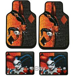 For Vw New Harley Quinn Car Seat Covers Floor Mats Steering Wheel Cover Set