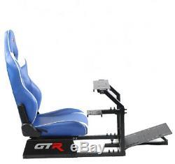 GTR Driving Simulator GTA Model Black with Blue Racing Seat Steering Wheel Stand