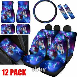 Galaxy Horse Car Seat Covers Full Set Combo Floor Mat Steering Wheel Cover 12/14
