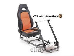 Gaming Racing Chair Bucket Seat For Steering Wheel Black Orange Faux Leather