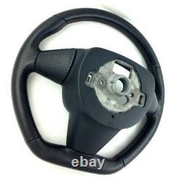 Genuine Seat Ibiza FR MK4 6J black leather, flat bottom steering wheel. 2C