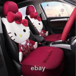 Hello Kitty five seats car seat cover steering wheel headrest fashion models