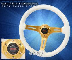 Jdm Sport 345mm Deep Dish Racing White Wood Grain Gold Center Vip Steering Wheel