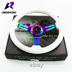 LR Universal 14 White Wood Grain Steering Wheel 6 Bolts 1.75 Dish 3-Spoke Wood