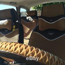 Light Brown Breathable Style Cloth Seat Cover Shift Knob Steering Wheel 44001b