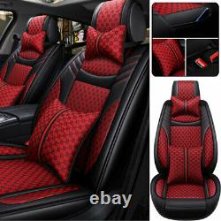 Linen Leather Luxury Car Seat Cover 5-Sits Front Rear Full Set Protector Cushion