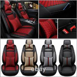 Luxury 5-Seat Car Seat Cover PU Leather Cushion Front Rear Protector Universal