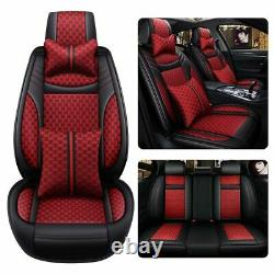 Luxury Car Seat Cover Red Leather 5-Sits Front &Rear Set Protector SUV Auto Fit