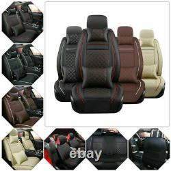 Luxury Car Seat Covers Deluxe PU Leather 5-Seats Front Rear Full Set Universal