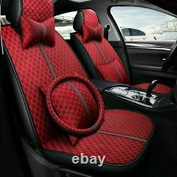 Luxury Red Car Seat Cover 5-Seat PU Leather Protector Cushion Full Set Universal