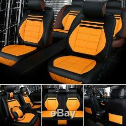 Luxury Universal Car Seat Covers 5-Sit Car Accessories+Steering Wheel Cover US