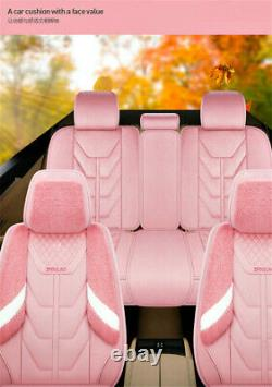 Luxury Winter Plush Fur Car Seat Covers 5 Seats Full Set with Steering Wheel Cover