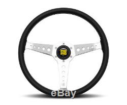 MOMO Steering Wheel California 360 Diam 34 Dish Blk Leather Wht Stitch Pol Spoke