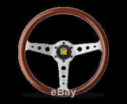 MOMO Steering Wheel Indy 350 Diam 37 Dish Mahogany Wood Brshd Spokes