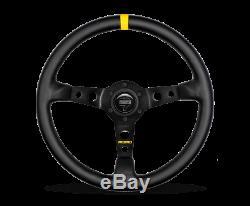 MOMO Steering Wheel MOD. 07 350 Diam 72 Dish Black Leather Black Spokes 1 Stripe