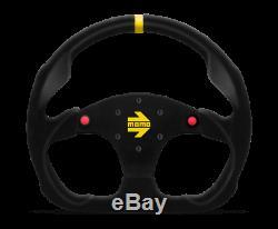 MOMO Steering Wheel MOD. 30 Btns 320 Diam 39 Dish Blk Suede Blk Spokes 1 Stripe