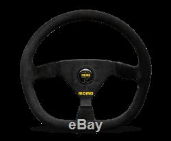 MOMO Steering Wheel MOD. 88 350 Diam 43 Dish Black Suede Black Spokes