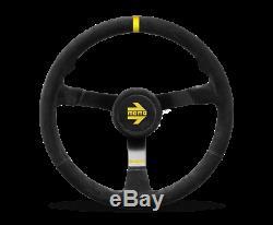 MOMO Steering Wheel MOD. N38 380 Diam 87 Dish Black Suede Black Spokes 1 Stripe