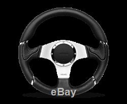 MOMO Steering Wheel Millenium 350 Diam 40 Dish Blk Lther Blk Stitch Brshd Spoke