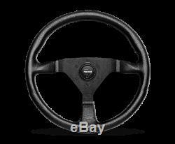 MOMO Steering Wheel Montecarlo 350 Diam 40 Dish Blk Leather Red Stitch Blk Spoke