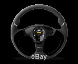 MOMO Steering Wheel Nero 350 Diam 38 Dish Black Leather/Suede Black Spokes