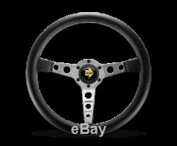 MOMO Steering Wheel Prototipo 350 Diam 39 Dish Blk Lther Wht Stitch Brshd Spokes