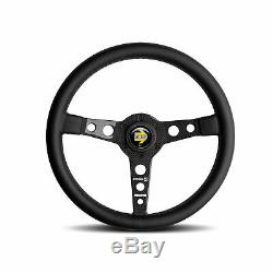 MOMO Steering Wheel Prototipo 6C 350 Diam 39 Dish Blk Lther Gry St Cbn Fbr Spoke