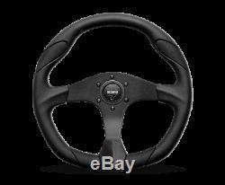 MOMO Steering Wheel Quark 350 Diam 40 Dish Black Poly Blk AirLthr Black Spokes