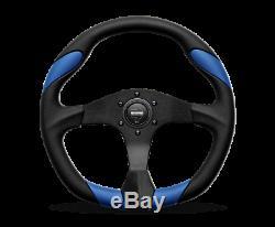 MOMO Steering Wheel Quark 350 Diam 40 Dish Black Poly Blue AirLthr Black Spokes