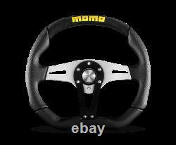 MOMO Steering Wheel Trek 350 Diam 40 Dish Blk Blk Airleather Brshd Al Spokes