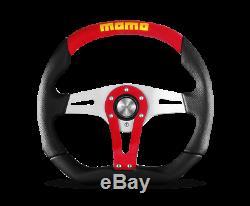 MOMO Steering Wheel Trek 350 Diam 40 Dish Blk Red Airleather Brshd Al Spokes