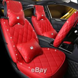 Mosaic Diamond Refined Leather Luxury Swan Car Seat Cover & Steering Wheel Cover