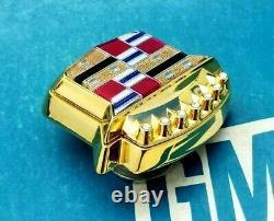 NOS 89 93 CADILLAC GOLD PLATED DeVILLE FLEETWOOD TRUNK LOCK COVER EMBLEM FLIPPER