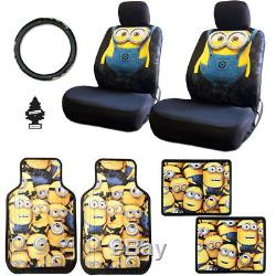 New 10 Pcs Despicable Me Minion Car Seat Covers Floor Mats Steering Wheel Gift