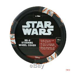 New 10pc STAR WARS BB8 Robot Car Floor Mats Seat Covers Steering Wheel Cover Set