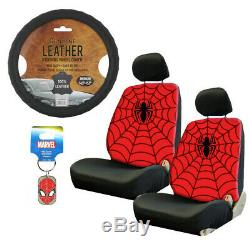 New 10pc Spider-Man Car Floor Mats Seat Covers Steering Wheel Cover & Keychain