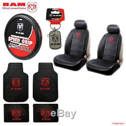 New 10pcs Dodge RAM Logo Car Truck Seat Covers Floor Mats Steering Wheel Cover