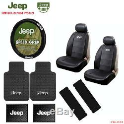 New 11pc JEEP Factory Logo Car Truck Seat Covers Floor Mats Steering Wheel Cover