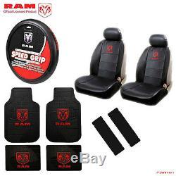 New 11pcs Dodge RAM Logo Car Truck Seat Covers Floor Mats Steering Wheel Cover